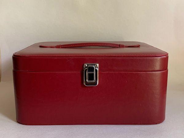 Vintage 1980 Oxblood Faux Leather Vanity Travel Make Up Case Black Fabric Lining
