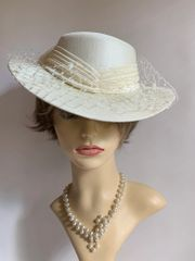 Vintage 1990s Hand Made Ivory Dress Hat Face Veil And Net & Satin Ribbon & Bow.