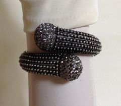 Costume Hinged 10 Inch Diamanté Pewter Coloured Slave Style Bangle Bracele
