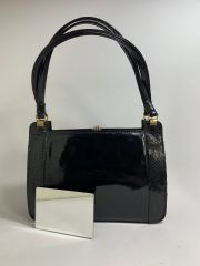 Wicklorbag Black Patent Leather & Lizard Skin 1950s Vintage Handbag With Buff Suede Lining