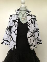 Sedanbi Black & White Textured Cropped Cotton Mix Jacket Size 10