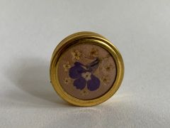 Vintage 1970s Gold Toned Small Pill Box Or Rouge Pot Compact With Miniature Iris Detail To Front