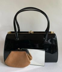 Marquessa Black Leather 1950s Vintage Handbag Buff Suede Lining Purse And Mirror