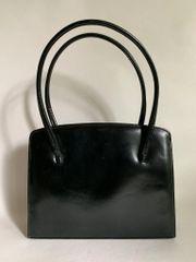 Van Dal Vintage 1950s Black Leather Handbag With Buff Suede Lining, Elbief Frame