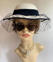 C & A Vintage 1990s Blue & Ivory Dress Hat With Blue Net