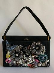Hand Jewelled Encrusted Black Grosgrain RFC Mini Handbag With Fabric Lining