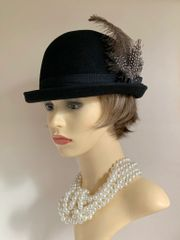 Black Derby Bowler Felt Steampunk Hat Petersham Ribbon & Removable Feather Clip