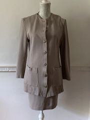 Dieter Heupel Vintage 1980s Taupe Viscose Blend Two Piece Cardigan Stretch Skirt Suit Size UK Size 12
