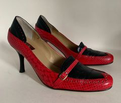 "Vicki Beth Black & Red Leather 3.5"" Stiletto Brogue Loafer Shoes Size UK 7 EU 40"