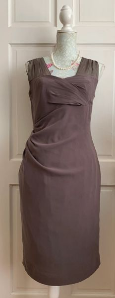 L K Bennett Elegant Fitted Taupe Evening Occasional Cocktail Dress Size 12
