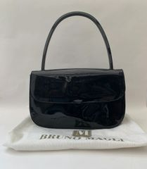 Bruno Magli Patent Leather Handbag Suede & Blue Fabric Lining With Protective Bag