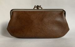 Vintage 1950s Large Beaver Brown Faux Leather Double Sided Coin Purse.