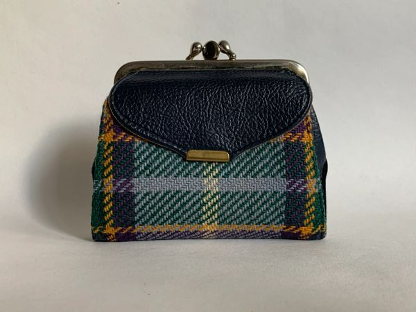 Vintage 1960s Double Sided Coin Purse Blue Vinyl & Tweed With Faux Suede Lining