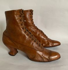 Victorian Edwardian Vintage All Leather Handmade Tan Lace Up Ankle Boots Size UK 5 EU 38 US 7