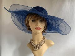 Navy Blue Polyester Flower Shaped Formal Dress Hat With Blue Flowers And Removable Ivory Corsage