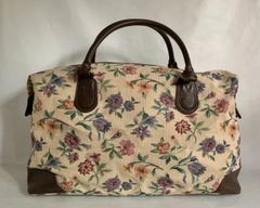 St Michael Vintage 1980s Floral Canvas With Brown Faux Leather Trim Travel Hold-all Case Luggage Weekend Bag