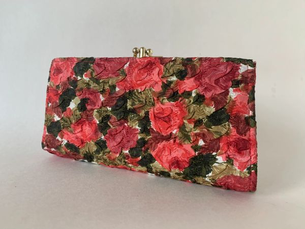 Nashtone Vintage 1970s Large Red Raised Floral Fabric Double Sided Coin Purse With Red Leather Lining