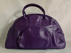 Marks & Spencer Cadbury Purple Leather Travel Hold-all Case Luggage Weekend Bag Padlock But NO KEY