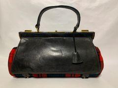 Memes Arier Vintage 1980s Red Tartan & Black Leather Large Wrap Over Handbag.