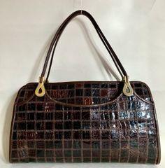 Jane Shilton Brown Exotic Leather 1960s Vintage Handbag With Light Buff Leather Lining.