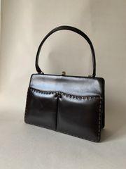 A Vintage 1950s Brown Calf Leather Handbag With Buff Suede Lining & Vanity Mirror