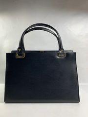 Vintage 1960s Black Synthetic Leather Handbag Satin Lining Hidden Side Pockets