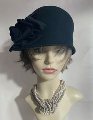 Jasper Conran Unlined Black Small Brim Wool Felt Cloche Hat With Large Flower To Side