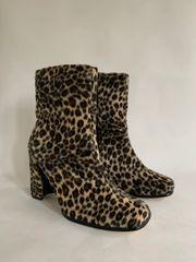 Valenti Franco Vintage 1980s Faux Fur Leather Square Toe Zip Up Ankle Boots Size UK 4 EU 37 US 6M