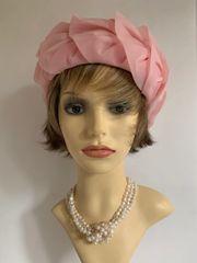 Vintage 1960s Pink Chiffon Net Turban Style Petal Swirl Hat 21 Inch Fully Lined