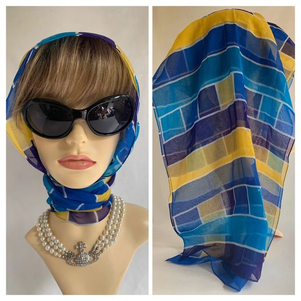 Jacqmar Neck Scarf Head Wrap Blue Yellow Purple Square Pattern Stitched Edge