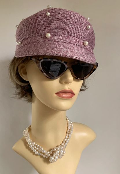 Pink 1960s Inspired French Style Cotton Blend Pearl Decorated Unlined Peaked News Boy Baker Boy Peaked Cap