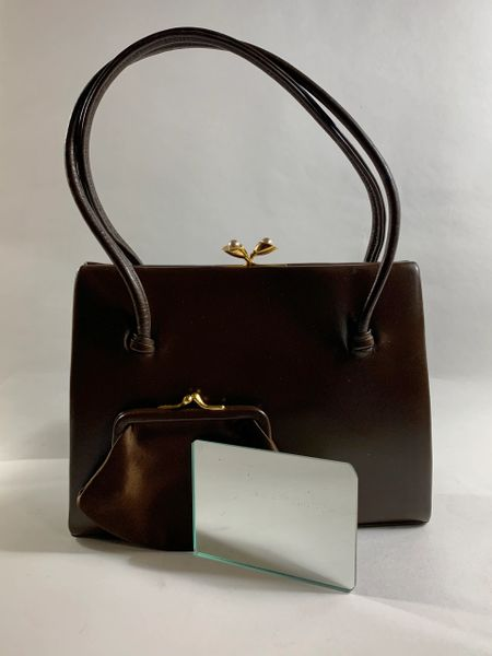 Waldybag Vintage 1960s Brown Calf Leather Handbag With Mirror Coin Purse & Fabric Lining
