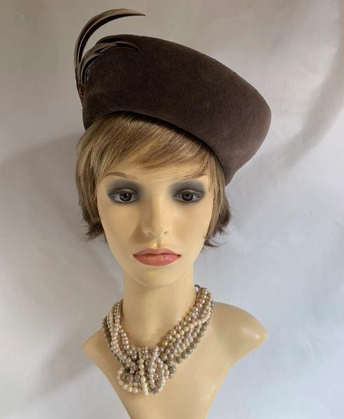 Marida Mink Brown Cotton Velvet 1960s Vintage High Top Pillbox Hat Pheasant Feather Brooch