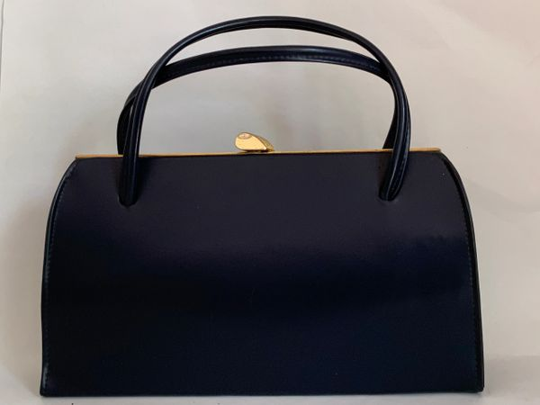 St Michael 1960s Vintage Blue Synthetic Large Handbag With Fabric Lining