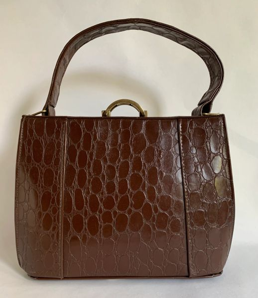 Vintage 1940s Brown Synthetic Moc Croc Handbag With Dark Buff Suede Lining And Covered Frame.