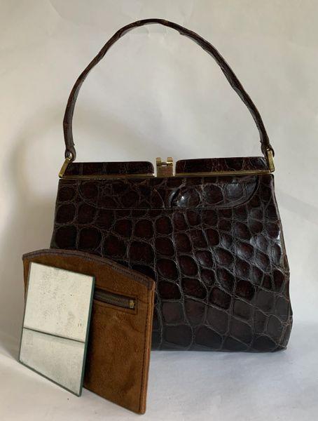 The Martin Vintage 1940s Brown Moc Croc Handbag Buff Suede Lining Purse Mirror