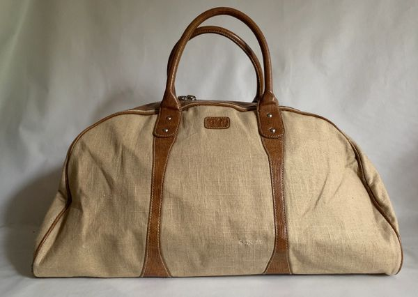 Marks And Spencer Per Una Ivory Linen & Tan Lizard Print Leather Travel Hold-all Case Luggage Weekend Bag
