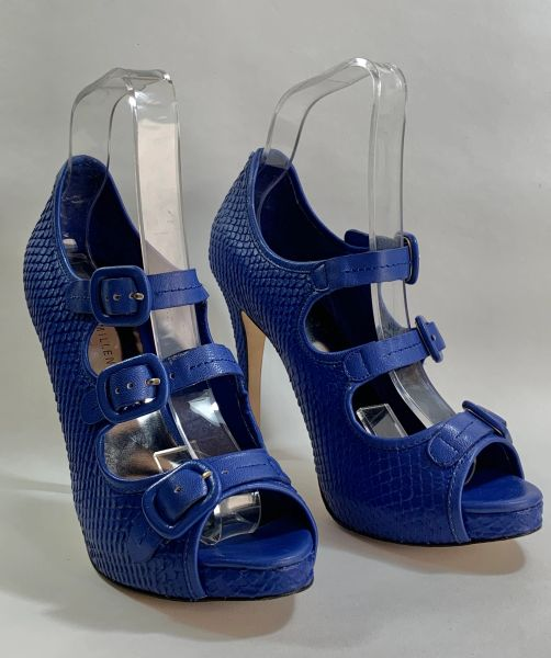 """Karen Millen French Blue Leather Strappy 4.5"""" Stiletto 1' Platform Shoes Sandals With Original Box And Care Card."""