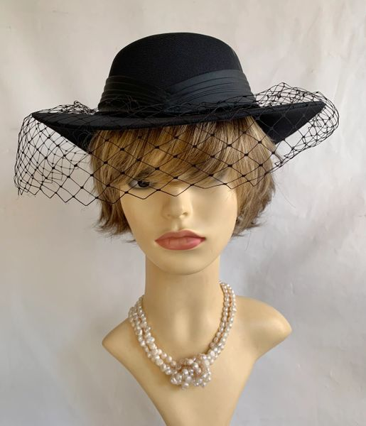 Vintage 1990s Hand Made Black Formal Dress Hat With Plain Net Satin Ribbon & Bow.