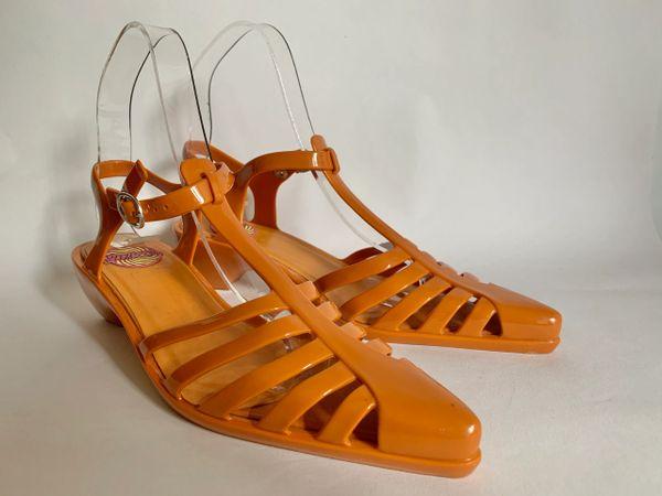 Mellissa Plasticodelic Orange Rubber 2 Inch Heel T Bar Slingback Shoe Size UK 3 EU 35