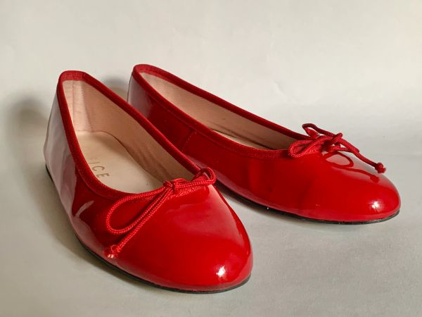 OFFICE Ballerina Pillbox Red Patent Leather Ballet Pumps Red Cord Bows UK 4 EU 37