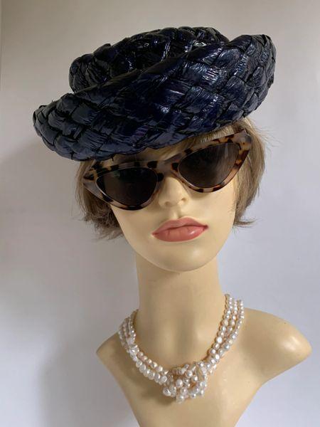 Vintage 1950s Very Dark Blue Interwoven Polyester Straw Hat