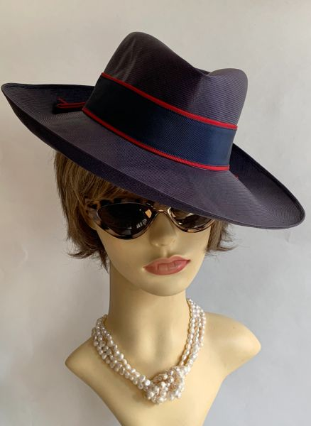 Woolsand Vintage 1960s Light Weight Dark Blue Sisal Dress Hat With Blue & Red Ribbon