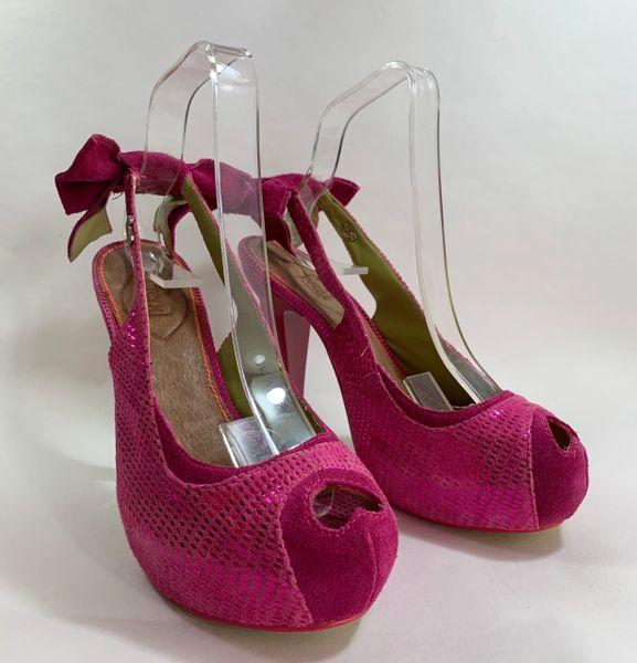FEUD Handmade 1950s Pin Up Style Peep Toe Slingback Cerise Pink Suede Shoe