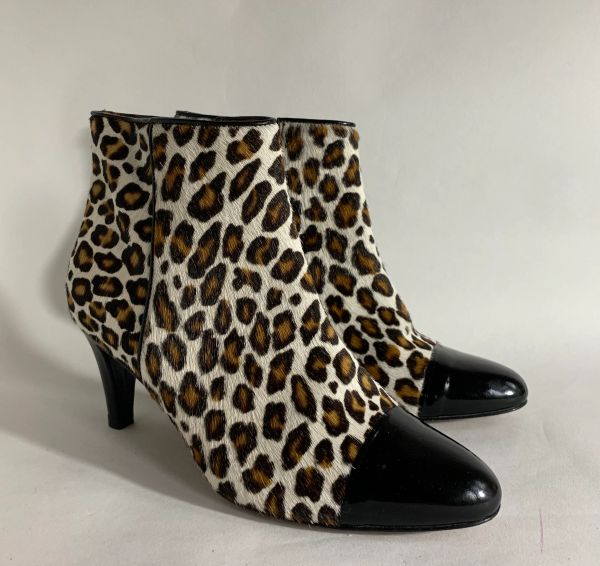 HOBBS Pony Hair Leopard Print Leather And Black Almond Toe 2.5 Inch Stiletto Heel Ankle Boot