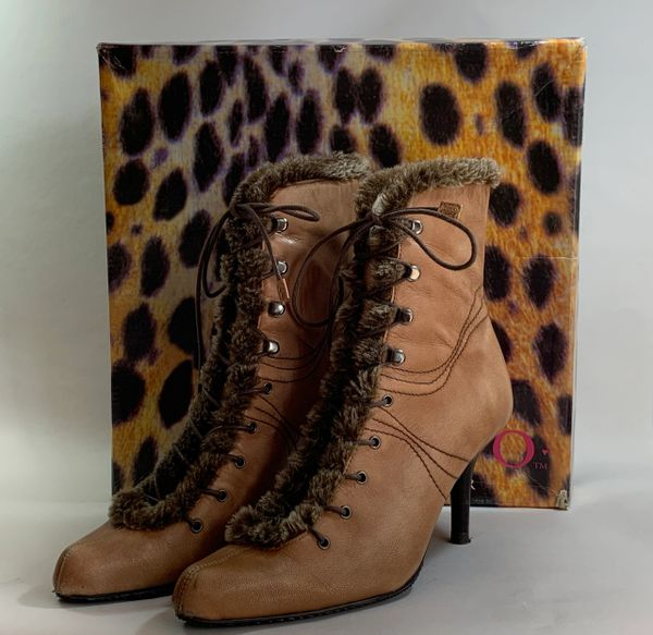XOXO Caramel Light Tan Steampunk Ankle Boots 3' Stiletto Heel Lace Up Fur Trim & Original Box Size UK 4 EU 37.