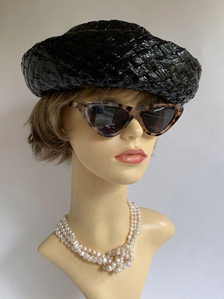 Vintage 1950s Hi Shine Black Interwoven Polyester Straw Hat