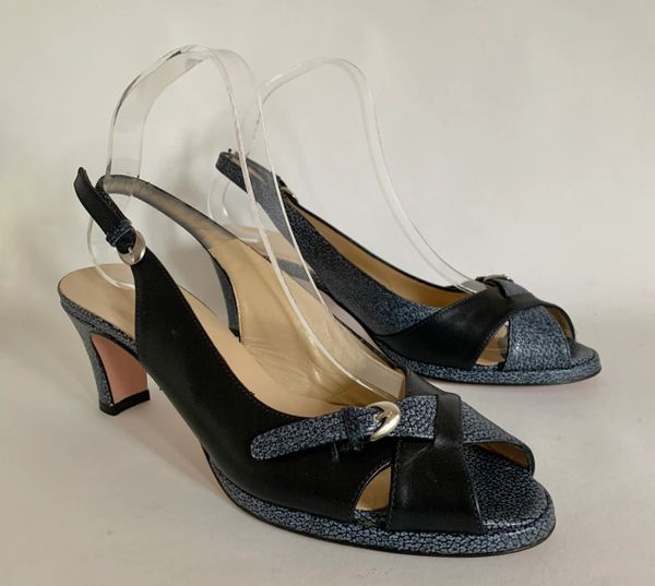 "Hobbs Black & Grey Cross Front Peep Toe Sling Back 3"" Block Heel Shoe Size UK 5 EU 38."