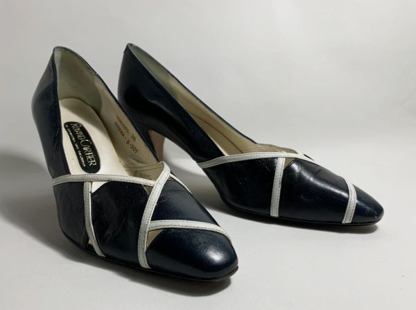 "Roland Cartier Dark Blue Leather 1980s Vintage 3"" Slim Heel Court Shoes Size UK 5 EU 38"