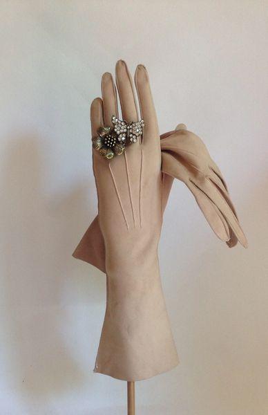 "Kid Skin Camel 1950s Vintage 12.5"" Evening Gloves Wedding Opera Church Size 6.75"